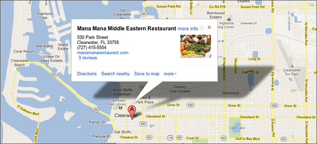Mana Mana Middle Eastern Restaurant Map